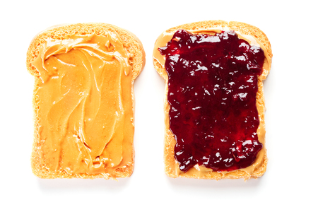 Foto de sandwich with peanut butter and jelly isolated on white background - Imagen libre de derechos