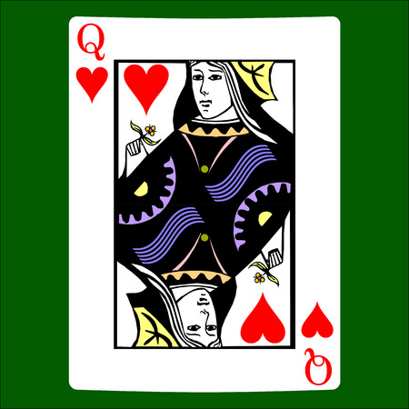 Illustration for Queen hearts. Card suit icon vector, playing cards symbols vector - Royalty Free Image