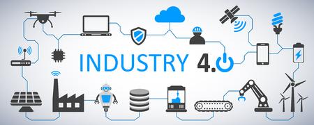 Ilustración de Industry 4.0 infographic factory of the future – stock vector - Imagen libre de derechos