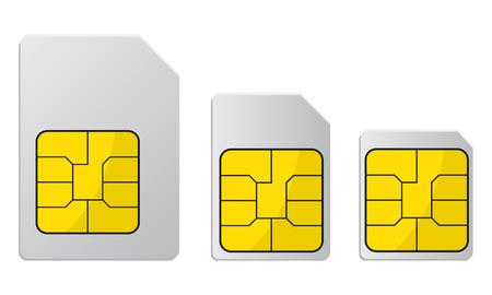 Illustrazione per Mobile phone sim card, standard, micro and nano sim card – stock vector - Immagini Royalty Free
