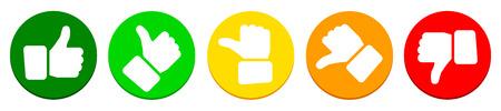 Illustration pour Valuation thumbs, colored buttons - image libre de droit
