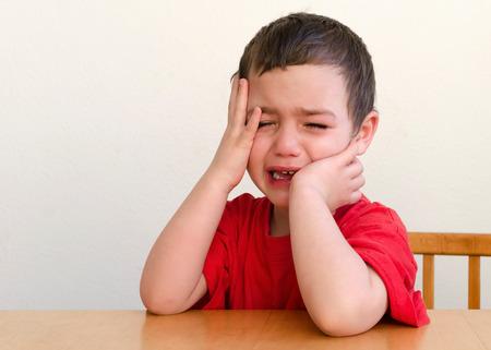 Photo pour Portrait of unhappy, upset , crying child boy - image libre de droit