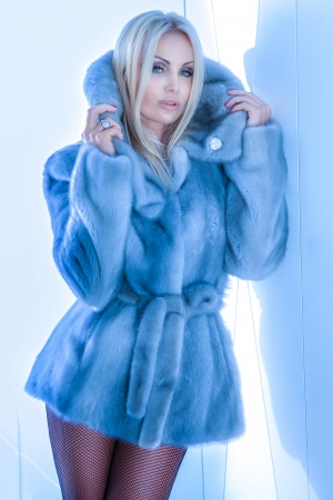 Photo for Fashionable blonde beautiful woman posing, wearing fur coat and looking at camera. - Royalty Free Image