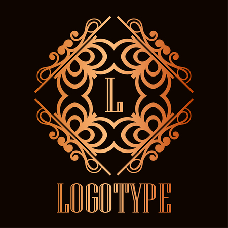 Illustrazione per Vintage ornamental logo monogram. Retro luxury frame for design with swirl elements and place for letter or text - Immagini Royalty Free