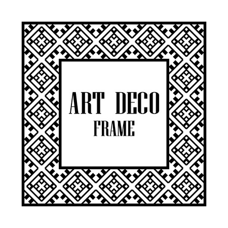 Illustration for Art deco border and frame. Creative template in style of 1920s for your design. Vector illustration. Vintage retro invitation. EPS 10 - Royalty Free Image