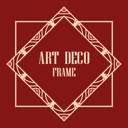 Illustration for Vintage retro invitation in Art Deco style. Art deco border and frame. Creative template in style of 1920s. Vector illustration. EPS 10 - Royalty Free Image