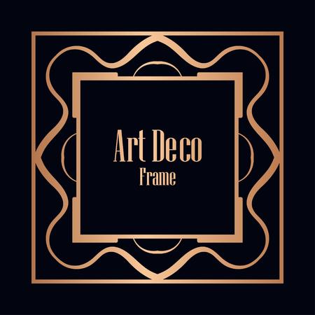 Illustration for Retro style border frame design, luxury vintage geometric vector illustration, art deco element - Royalty Free Image