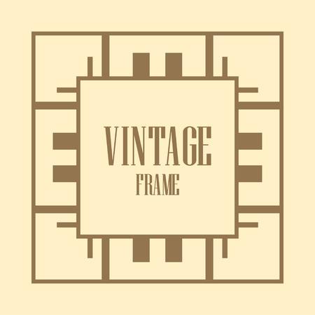 Illustration for Art deco vintage border, frame. Retro design vector illustration - Royalty Free Image