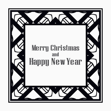 Illustration for Art deco border and frame. Merry Christmas and Happy New Year greeting card. 2019 year. Creative template in style of 1920s for your design. Vector illustration. EPS 10 - Royalty Free Image
