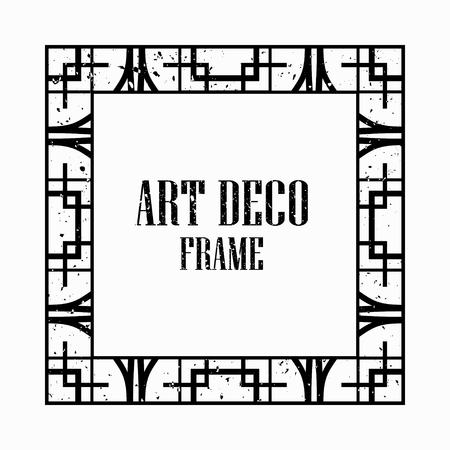 Illustration for Vintage retro style invitation in Art Deco. Art deco border and frame. Creative template in style of 1920s. Vector illustration eps 10 - Royalty Free Image