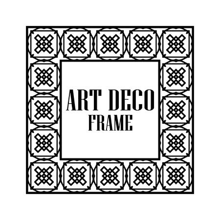 Illustration for Art deco vintage border frame. Retro design template. Vector illustration - Royalty Free Image