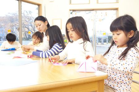 Foto de Fold the origami nursery and kindergarten - Imagen libre de derechos