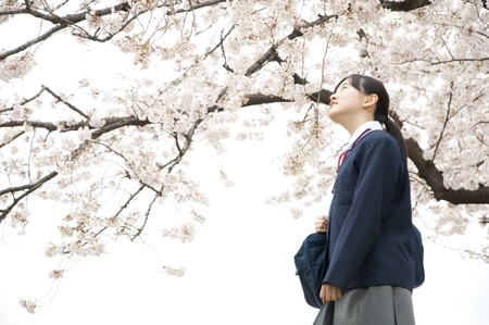 Middle school girls to look up at the cherry