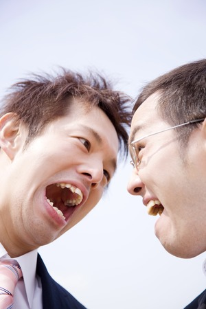 Businessman to colleagues and fight