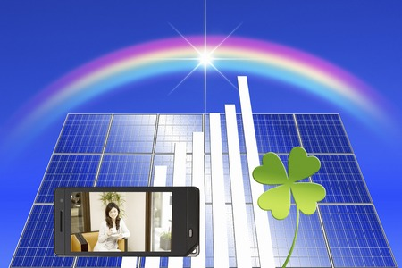 Woman in solar panels and mobile screen