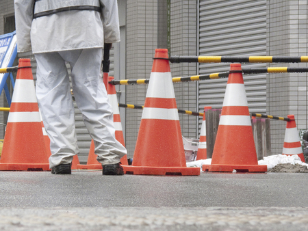 Guards of the rainy weather of road construction