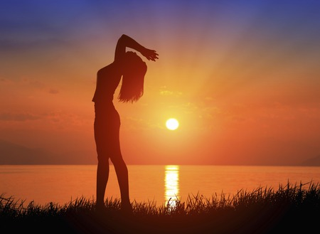 Photo for Sunrise and female silhouette - Royalty Free Image