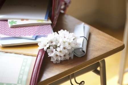 It was placed on the desk bag and cherry blossoms