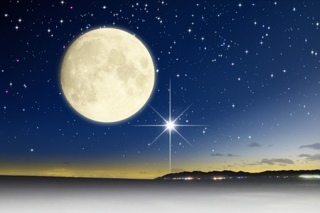 Foto de Starry sky and the moon - Imagen libre de derechos