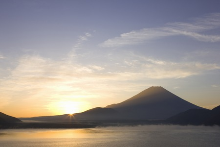 Motosu and Mt Fuji and sunrise