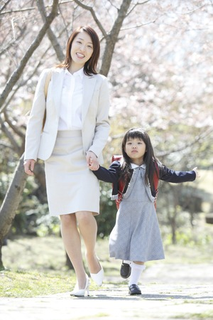 Elementary school girls and mothers walk the cherry trees