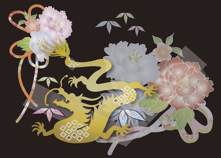 Japanese Pattern dragon and peony