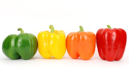 Colorful fresh pepper in a line