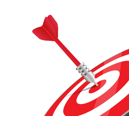 Illustration pour One red dart hitting the center of a target. Vector image over white. Modern design for business or marketing purpose - image libre de droit