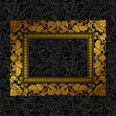 Illustration for Royal gold Picture frame on the dark wallpaper - Royalty Free Image