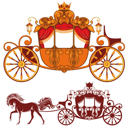 Illustration for Two Royal carriage. Detailed image and silhouette. - Royalty Free Image