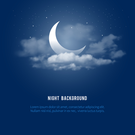 Ilustración de Mystical Night sky background with half moon, clouds and stars. Moonlight night. Vector illustration. - Imagen libre de derechos