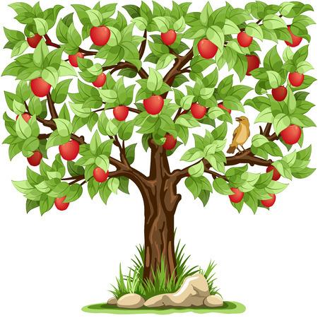 Illustration for Cartoon apple tree isolated on white background - Royalty Free Image