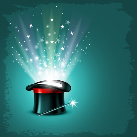 Ilustración de Vintage background with magician hat, wand and magical glow - Imagen libre de derechos
