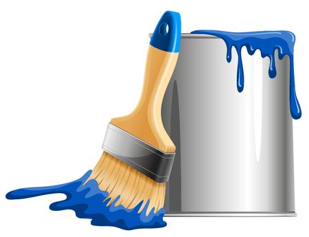 Ilustración de Bucket of blue paint and brush. Vector illustration. - Imagen libre de derechos