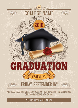 Ilustración de Vector template of announcement or invitation to Graduation ceremony or party with unusual realistic image of Graduation cap and diploma. There is place for your text. - Imagen libre de derechos