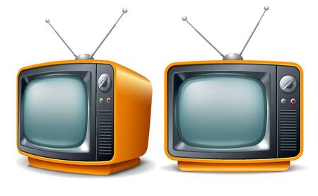 Illustration pour Retro television set. Front and perspective view. Vector realistic volumetric illustration. - image libre de droit