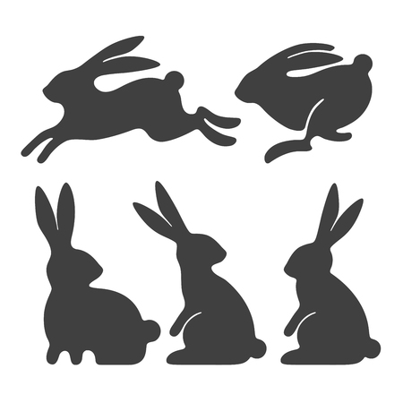 Illustration pour Stylized silhouettes of sitting and running rabbits - image libre de droit