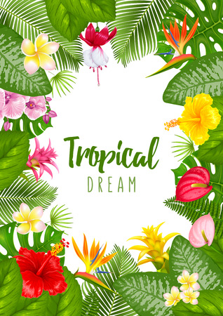 Illustration for Summer tropical frame design for banner or flyer with exotic leaves and flowers. Vector illustration. Isolated on white background. - Royalty Free Image