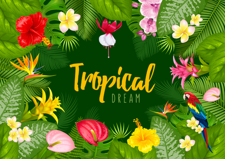 Ilustración de Summer tropical frame design for banner or flyer with exotic leaves and flowers. Vector illustration.  - Imagen libre de derechos
