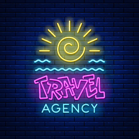 Illustration pour Colored neon light glowing sign Travel agency with sun and sea waves against a brick wall background. Vector illustration. - image libre de droit