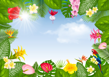 Illustration for Summer tropical frame design with bright exotic leaves and flowers on blue sunny sky background. Vector illustration. - Royalty Free Image