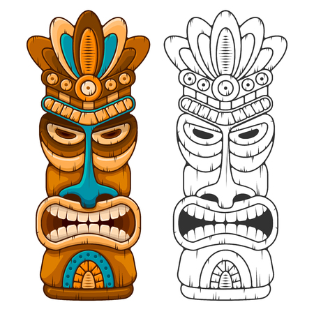 Ilustración de Tiki tribal wooden mask. Hawaiian traditional elements. Colored and black and white silhouette. Isolated on white background. Vector illustration. - Imagen libre de derechos