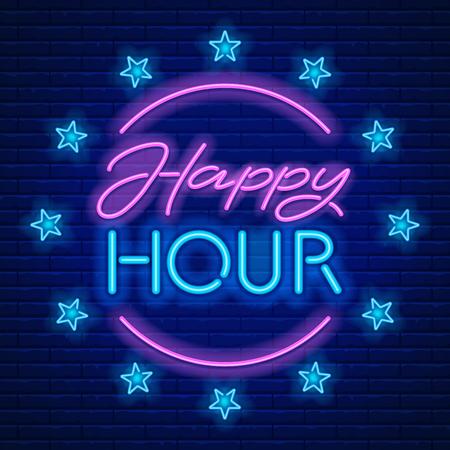 Ilustración de Happy Hour. Realistic neon sign on brick wall background. Vector illustration. - Imagen libre de derechos