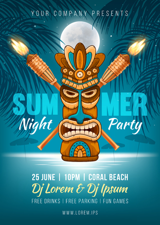 Ilustración de Summer Night party poster design with Tiki mask, bamboo torch and silhouette of the palm leaves, full moon and it reflection in the sea water near the beach. Vector illustration - Imagen libre de derechos