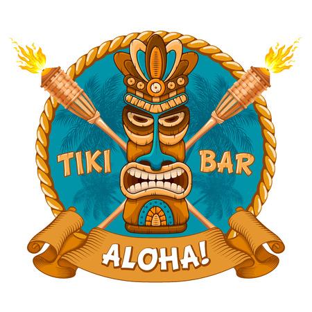 Ilustración de Tiki tribal wooden mask, bamboo torch and signboard of bar. Hawaiian traditional elements. Isolated on white background. Vector illustration. - Imagen libre de derechos