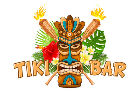 Ilustración de Tiki tribal wooden mask, beach bamboo torch, tropical exotic plants and signboard of bar. Hawaiian traditional elements. Isolated on white background. Vector illustration. - Imagen libre de derechos