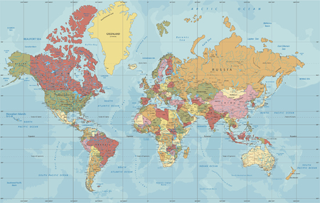 Illustration pour Detailed Political World map in Mercator projection. Clearly labeled. Separated layers. - image libre de droit