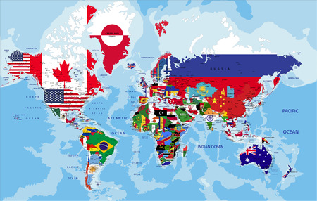Illustration pour Political map of the world with country flags. - image libre de droit