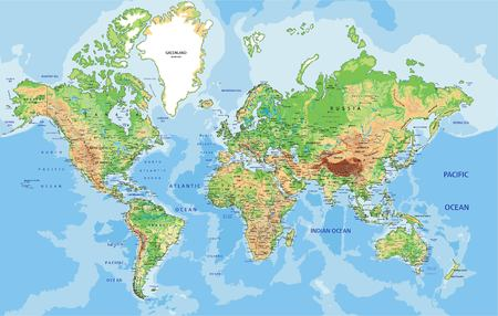Photo for Highly detailed physical World map with labeling. Vector illustration. - Royalty Free Image
