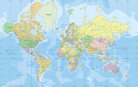 Illustration pour Political World map in Mercator projection. - image libre de droit